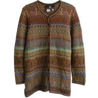 "【80's vintage / Peru made 】""Peruvian Connection"" alpaca  Jacquard cardigan  -s / brown- (om-10-5)"