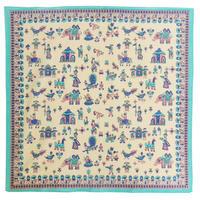 """【India Made】""""India village"""" Bandana -Beige × Turquoise , Pink-  (AI-001h)"""