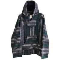 """【vintage / FRANK'S TEXTILES】""""baja""""mexican parka -charcoal gray × green mix / L- (jt218-2)"""