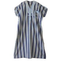 """【70's vintage / egypt made】""""isis""""  folklore stripe chambray  one piece"""