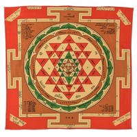 "【India Made】""Sri Yantra"" Bandana  -Red-  (im-4)"