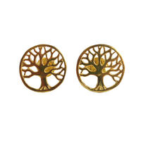 """""""tree of life""""  silver 925  gold plated pierced earrings  (sap003)"""