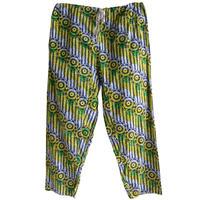 "【80's vintage / africa made】""african batik"" remake flower easy pants -green × yellow- (om-212-14)"