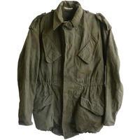 """【1958 vintage/Dutch  military/black tag】""""KL""""  field jacket  -olive green / 88×92 180cm-  (om-10-8A)"""