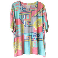 """【80's vintage / germany made】""""african lady"""" full print s/s t-shirts  -L /  neon color- (om-20611)"""