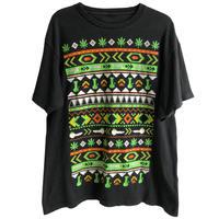 "【euro vintage 】""leaf & pipe & joint- smoky"" jacquard print T-shirts  -M / black- (jt-218-69)"