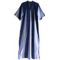 "【70's vintage / Germany made】""batik"" long one piece  -navy × blue × white / gr.S-   (om-212-29)"
