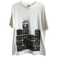 """【used / Acrylic】""""the golden age"""" analog record T-shirts  -M / white- (jt-218-58)"""