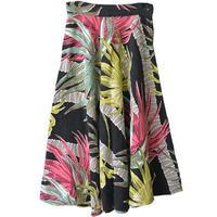 "【50's / vintage / u.s.made】""Palm tree"" old long  circular skirt  - black / w62cm-"