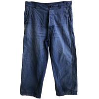 """【60's vintage / france made】""""moleskin"""" work pants  -blue / 34inch- (om-212-52)"""