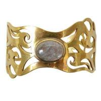 """【Used / Nepal】""""Labradorite × Gold""""  Brass Bangle (a-5)"""