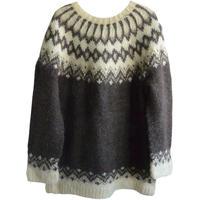 【80's vintage /  Europe handmade 】 wool nordic sweater - L / brown × natural- (om-10-4B)