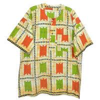 """【80's vintage / africa made】""""african batik"""" remake henry neck shirt -xl- (om-809)"""