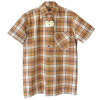 """【dead stock /50's  vintage】 """"heliofontaine""""  brown check short sleeve shirt  -L size-  (om-25)"""