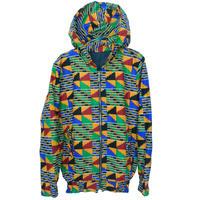 """【80's vintage】""""african batik"""" remake crazy pattern  full zip hoodie - multi / M- (om-212-10)"""