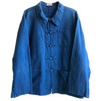 【80's euro vintage / Shanghai】china jacket  -indigo blue / size 62- (jt218-19)