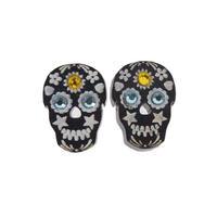 """【Used / UK】""""Tatty Devine""""  Mexican Skull Pierced Earrings  -Black- (a-20)"""