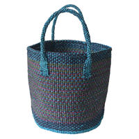 """【African・Kenia / Hand Made】 """"upcycle"""" sisal bag  -turquoise × purple mix / 9inch- (AS-36)"""