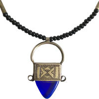 """""""African・Touareg(トゥアレグ族) Hand Made""""  Metal× Glass Ingal Pendant  -blue- (M-218-5A)"""