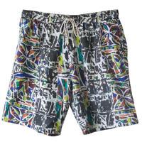 "【80's vintage /  euro made】""leaf  geometric pattern"" full print shorts -free size- (om-20631)"