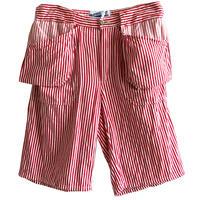 "【euro vintage】""Fristads Kansas"" hickory work shorts  -red stripe / W80-"