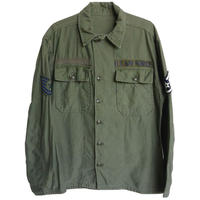 【60's vintage/US AIR FORCE】 military  fatigue shirt / utility shirt -olive green / M-  (jt-002)