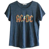 """【used / pepper & mint london】""""AC/DC"""" flower embroidery T-shirts  -heather navy / youth- (om214-8)"""