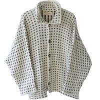 """【90's vintage / denmark handmade】""""TROL Design"""" dot wool jacket  - natural × black / 3 -  (om-11-1A)"""