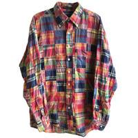 【90's vintage / GANT】 patchwork BD shirt  -madras check / M- (jt218-30)