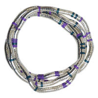 """Fexible Stainless Wire Necklace """"silver  ×  purple × green"""" mix (an003) """"  変形自在のくねくね・ワイヤーネックレス"""""""