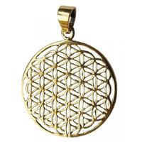 """flower of life"" gold brass pendant top  (sat001)"