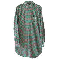 """【60's/dead stock】"""" france made"""" check grand father pullover shirts  -39/green-  (om-18-b)"""