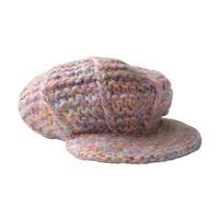 【vintage / Germany 】 handmade knit casquette / hunting cap  -dark pink mix- (om-10-9-13)