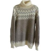 "【80's vintage/Iceland 】""Edda knitwear"" wool turtleneck  nordic sweater  - natural- (om-10-4A)"
