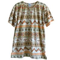 "【used / NEW FAST】""geometric pattern""  henley neck  kanoko T-shirt  Kanoko  -S-  (om214-9)"