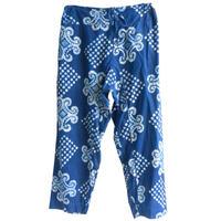 """【80's vintage / africa made】""""indigo batik"""" remake total pattern easy pants -free- (om-212-17)"""