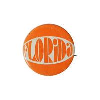 "【70's vintage / u.s.made】""florida"" orange badge (bg036)"
