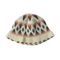 【vintage / Germany 】handmade native crusher hat -natural × brown- (om-10-9-2)