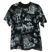 "【80's vintage / cape town made】 ""jingle jungle"" animal full print  s/s t-shirts -black / s- (om-802)"