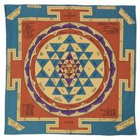 """【India Made】""""Sri Yantra"""" Bandana -Blue- (im-5)"""