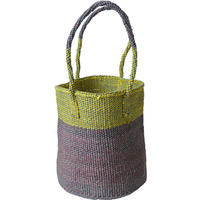 """【African・Kenia / Hand Made】 """"upcycle"""" sisal bag   -mint green × purple mix / 9inch- (AS-31)"""
