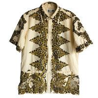 【70's vintage】Indonesia  batik stripe s/s shirts  -natural / L- (OM-216-11)