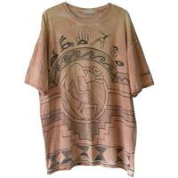 "【80's vintage / u.s. made】"" kokopelli"" Hopi  full print  tie dye s/s t-shirts  -XL-  (om-20616)"