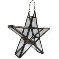 """【India hand made】""""star"""" brass flame & glass candle holder (M-218-3)"""