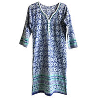 【70's vintage/ India made】block print / flower total pattern tunic one piece -navy - (om-216-19)