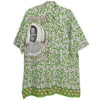 "【90's vintage/Cote d'Ivoire made】""Henri Konan Bédié"" african batik remake shirts - XL- (om-212-1)"