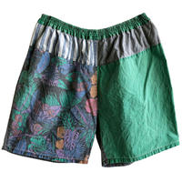 """【80's euro vintage】""""crazy pattern"""" pigment tropical easy shorts -M- (om-216-71)"""