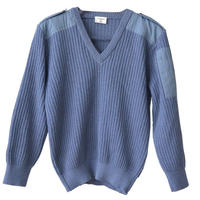 "【80's/dead stock】""Leo Minor"" french military v-neck command sweater -blue gray / 80- (om-1b)"