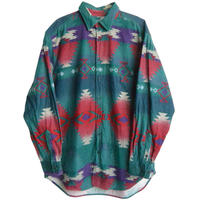 """【80's vintage / WOOL RICH】 """"ortega"""" pattern flannel  shirt  / made in usa  -green  / L- (jt-010)"""