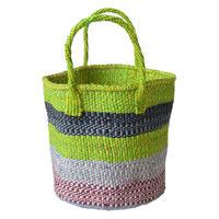 "【African・Kenia / Hand Made】 ""upcycle"" sisal bag  -lime × black × gray mix / 9inch- (AS-35)"